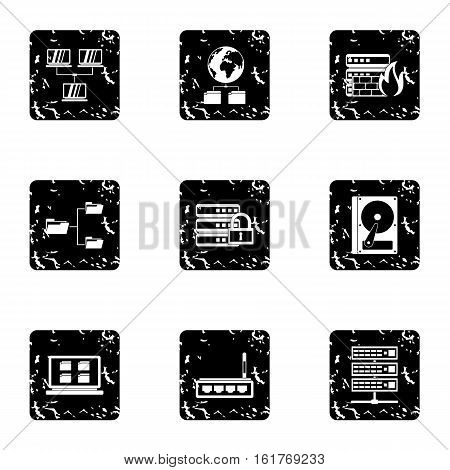 Data cloud icons set. Grunge illustration of 9 data cloud vector icons for web