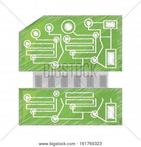 drawing computer hardware processor card vector illustration eps 10