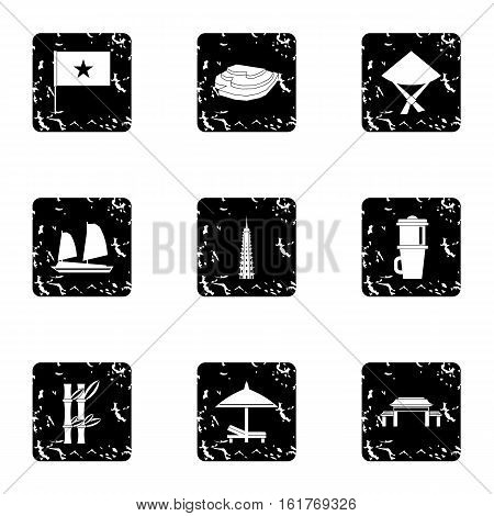 Country Vietnam icons set. Grunge illustration of 9 country Vietnam vector icons for web
