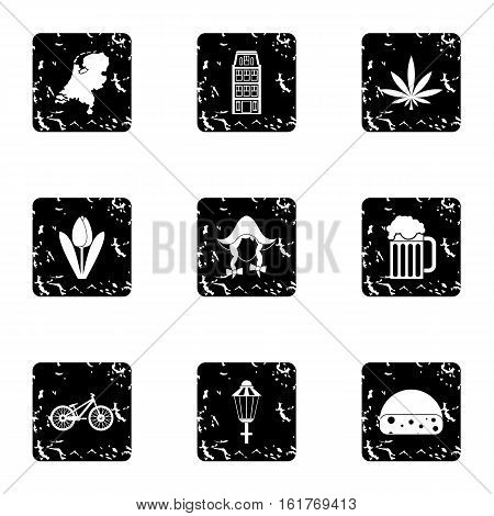 Holland icons set. Grunge illustration of 9 Holland vector icons for web