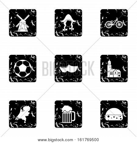 Attractions of Holland icons set. Grunge illustration of 9 attractions of Holland vector icons for web