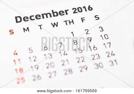 Close up the Calendar for December 2016.