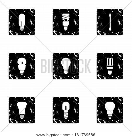 Lamp for home icons set. Grunge illustration of 9 lamp for home vector icons for web