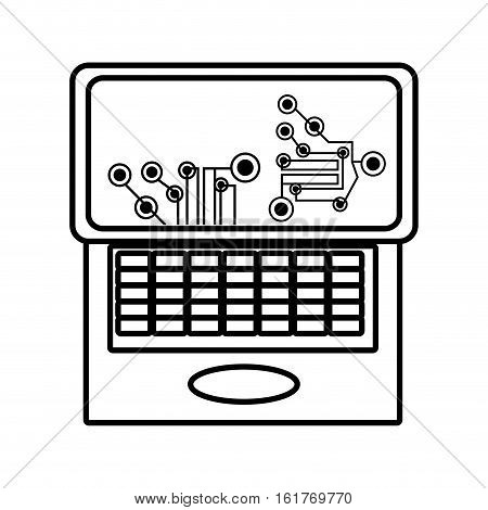 laptop technology circuit electronic linear vector illustration eps 10