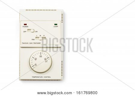 Electronic room thermostat Temperature control isolated on white