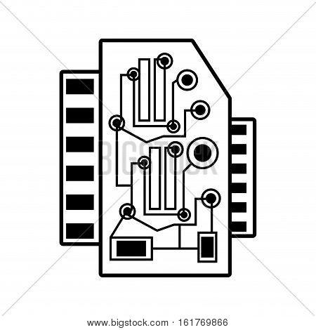 computer hardware processor card linear vector illustration eps 10