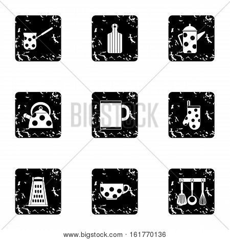 Kitchenware icons set. Grunge illustration of 9 kitchenware vector icons for web
