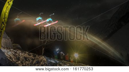 Mamay, Russia - December 10, 2016: Competitions Freeride Mamay First Snow 2016 Mountain Near Mamay,
