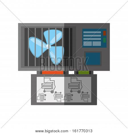 computer cooler fan electronic shadow vector illustration eps 10