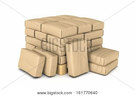 3d rendering of light brown paper sacks piled on a wooden pallet isolated on white background. Goods transportation. Construction and manufacturing. Sacks and containers.