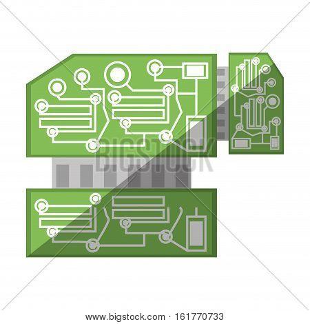 computer hardware processor card shadow vector illustration eps 10