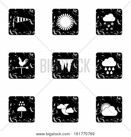 Kinds of weather icons set. Grunge illustration of 9 kinds of weather vector icons for web