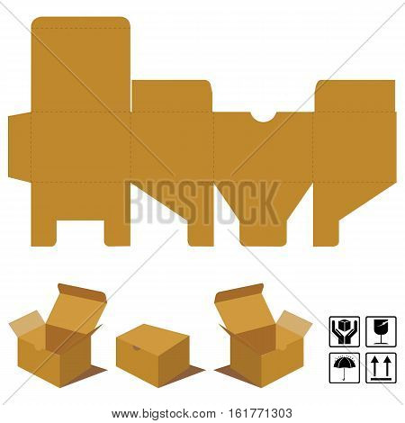 Corrugated cardboard lid on top. Box Corrugated brown and symbols fragile.
