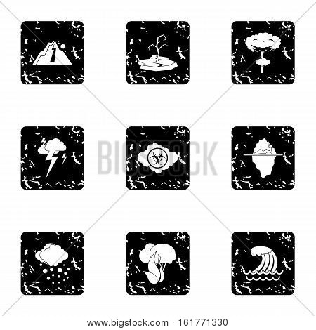 Natural emergency icons set. Grunge illustration of 9 natural emergency vector icons for web