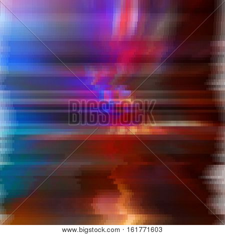 Glitched abstract vector background made of colorful pixel mosaic. Digital decay, signal error, television signal fail. Colorful trendy design for print poster, brochure cover, website and other design projects.