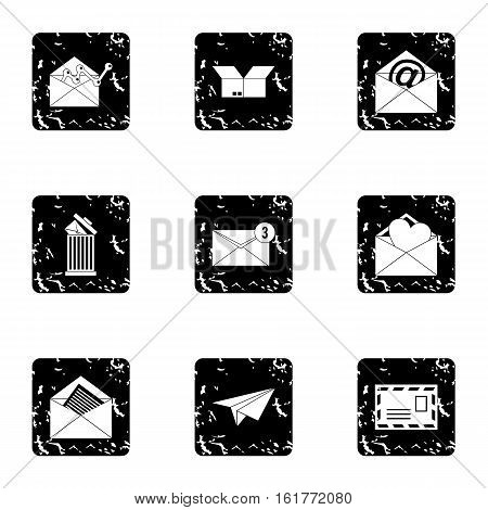 E-mail icons set. Grunge illustration of 9 e-mail vector icons for web