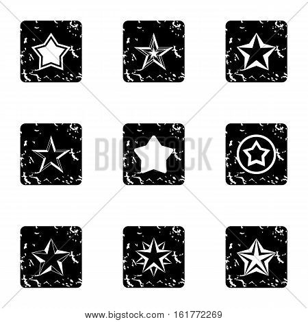 Five-pointed star icons set. Grunge illustration of 9 five-pointed star vector icons for web