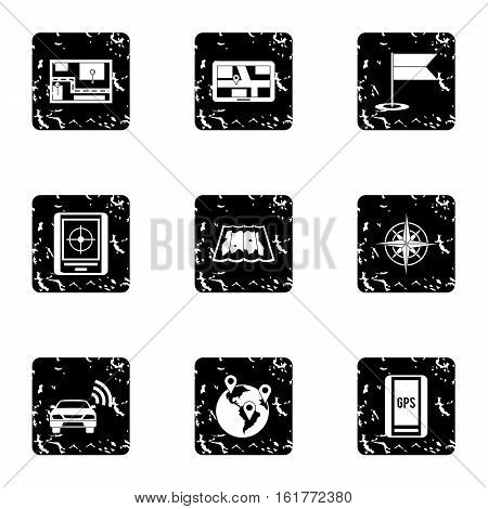 GPS icons set. Grunge illustration of 9 GPS vector icons for web