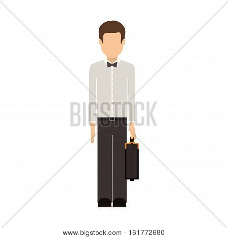 Man and suitcase icon. Male avatar person people and human theme. Isolated design. Vector illustration