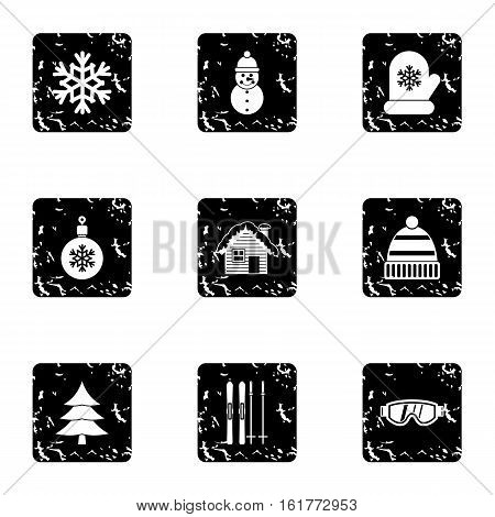 Winter frost icons set. Grunge illustration of 9 winter frost vector icons for web