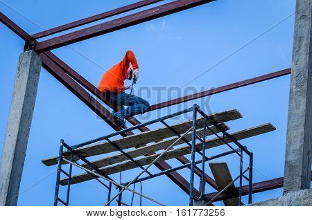 Construction workers were working on high risk