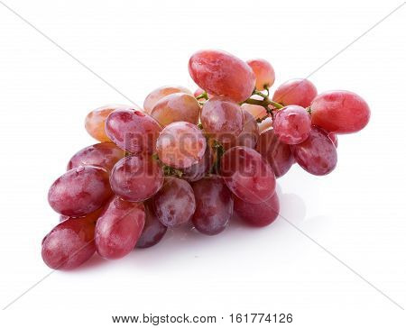 red seedless grapes isolated on white background