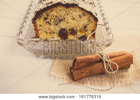Vintage Photo, Fresh Baked Fruitcake And Cinnamon On Boards