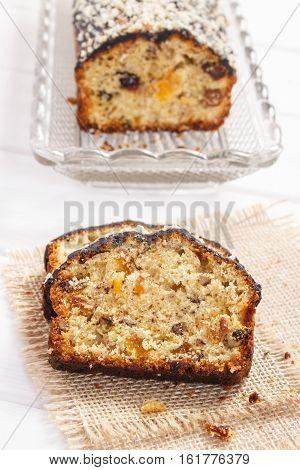 Fresh Baked Fruitcake On Boards