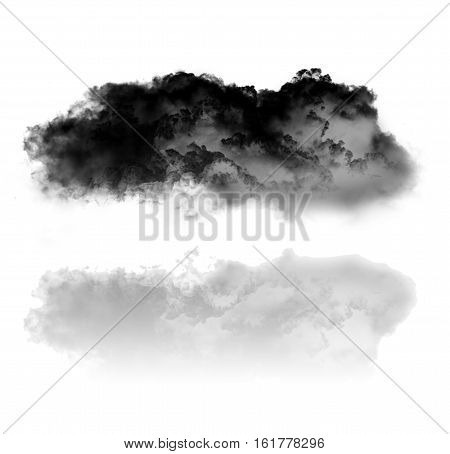 Cloud and its reflection isolated over pure white background 3D rendering illustration. Black smoky cloud