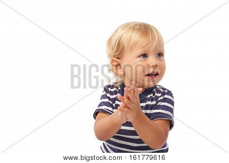 Little boy clapping with hands, isolated on white
