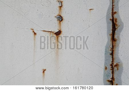 Abstract rusted white metallic grey wall background.