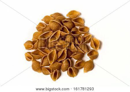 Whole Wheat Pasta Isolated On White Background