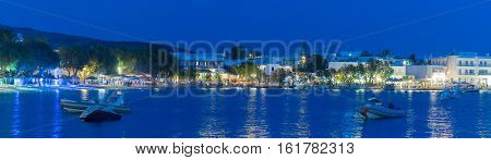 Alyki touristic area at Paros island in Greece at blue hour.