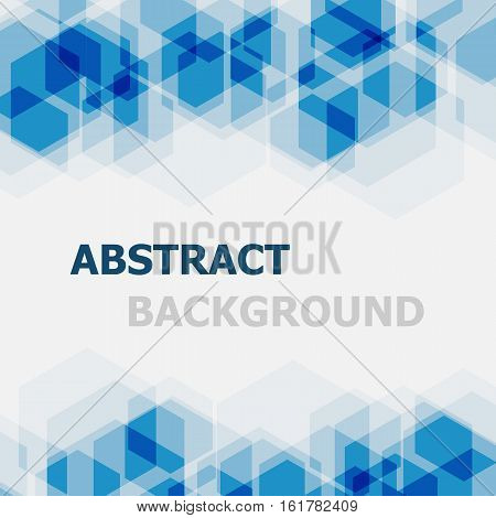 Abstract blue hexagon overlapping background, stock vector