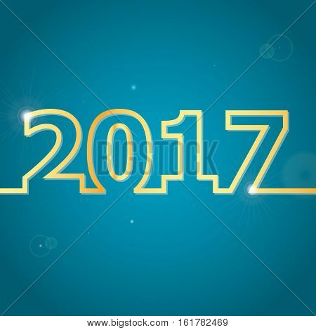2017 Happy New Year on blue background, stock vector