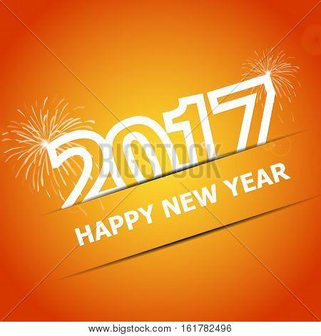 2017 Happy New Year on orange background, stock vector