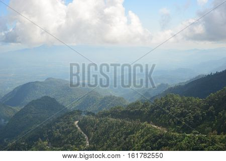 Landscape Mountain and mist in the morning at Doi Ang Khang