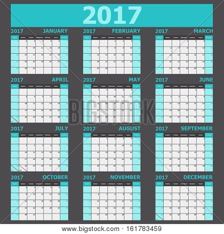Calendar 2017 week starts on Sunday (light green tone), stock vector