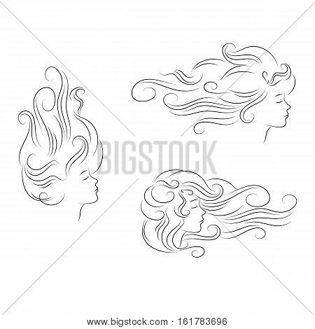 vector set of silhouette girl head with curly hair. Sketch outline isolated on white background
