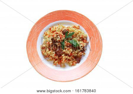 Plate with pilaf on plate. Isolated on white with clipping path
