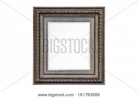 Classic wooden frame isolated on white background.