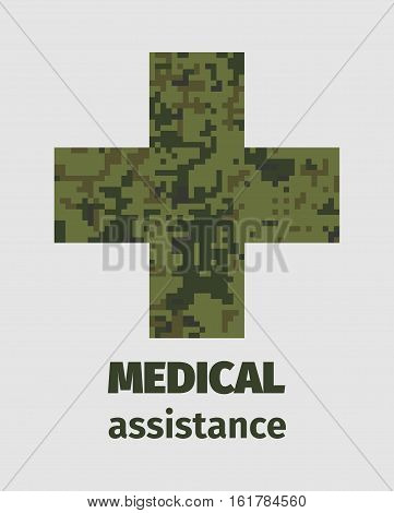 Medical assistance poster design with cross camouflage fill. Military style