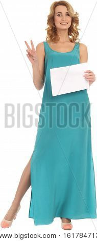 Beautiful young woman holding blank sign isolated