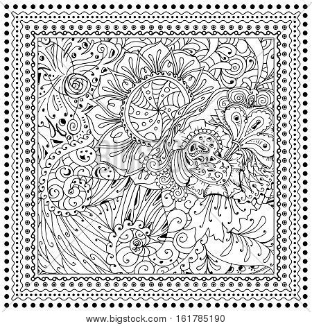Black vector mono color illustration. Adult Coloring book page design, for adults or kids. Vector template.Ornamental border and frame