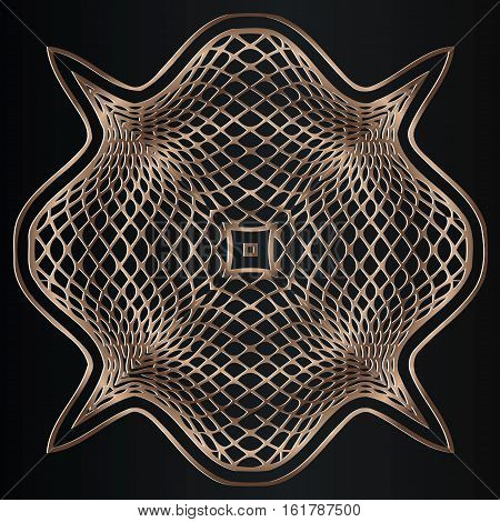 Openwork brass inlay wavy lines in the spiral in the form of an elongated rhombus