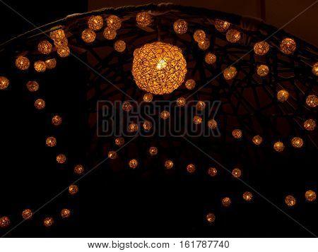 Homemade spherical lampshade Woven thread texture. closeup.