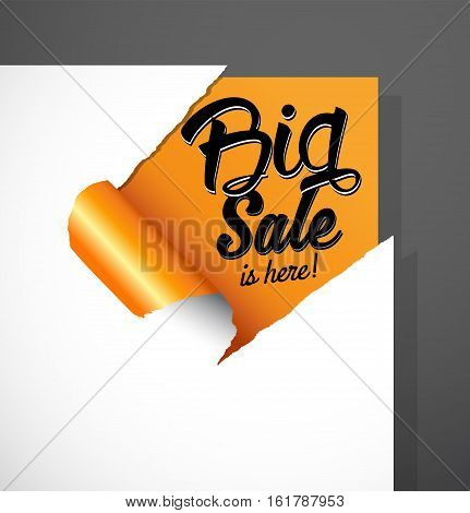 Big Sale is here text uncovered from teared paper corner.
