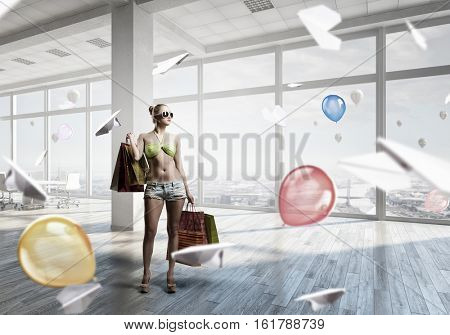 Summer shopping time . Mixed media