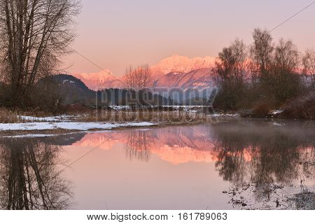 Pitt River And Golden Ears Mountain At Sunset