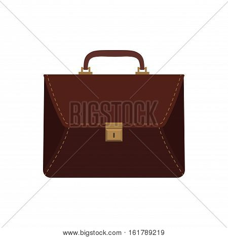 business briefcase, brown color, flat design style icon, isolated